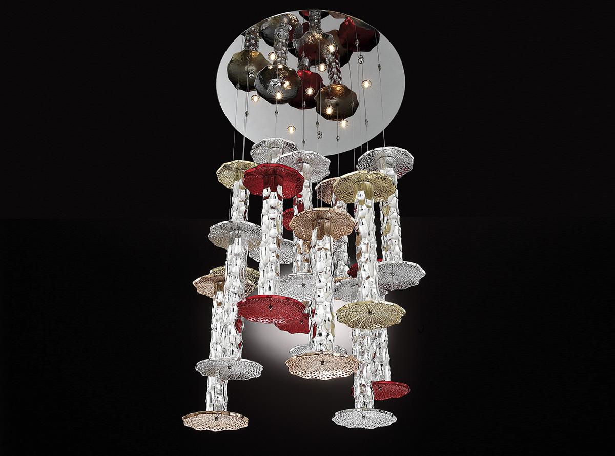 C-3701_Urchin-multicolors-bambu_Italian art glass chandeliers