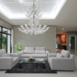 Fresco Venetian glass chandelier interior design