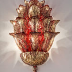 Fresco wall lamp Murano glass light sculpture