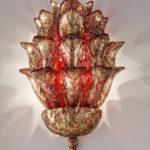 Fresco wall lamp Murano glass light sculpture