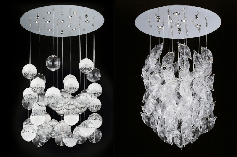 Light Sculptures – design the light with handmade blown Murano glass bubbles and grains